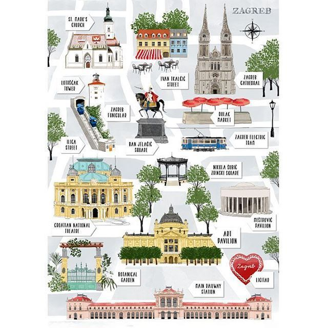 Mateja Kovac On Instagram Souvenir Postcard Map Of Zagreb Monument Facade Citymap Cityillustration Postcard Print Zagreb Zagreb Croatia Croatia Travel