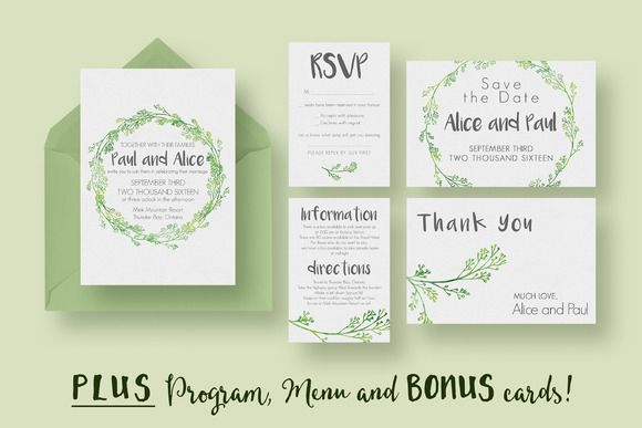 With this hip wedding invitation card, you will also get editable templates for the RSVP card, menu, ...