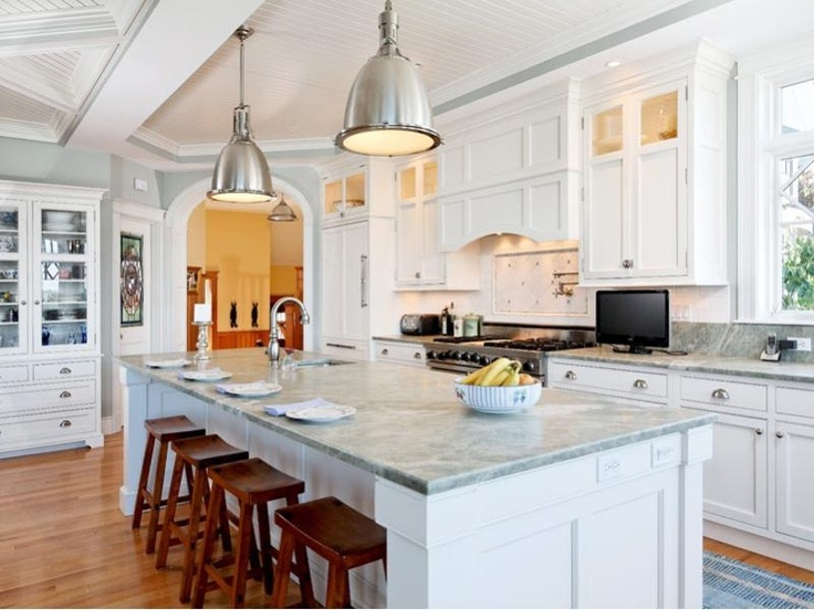 White Shaker Cabinets Marble Counter Tops In Cape Elizabeth Maine