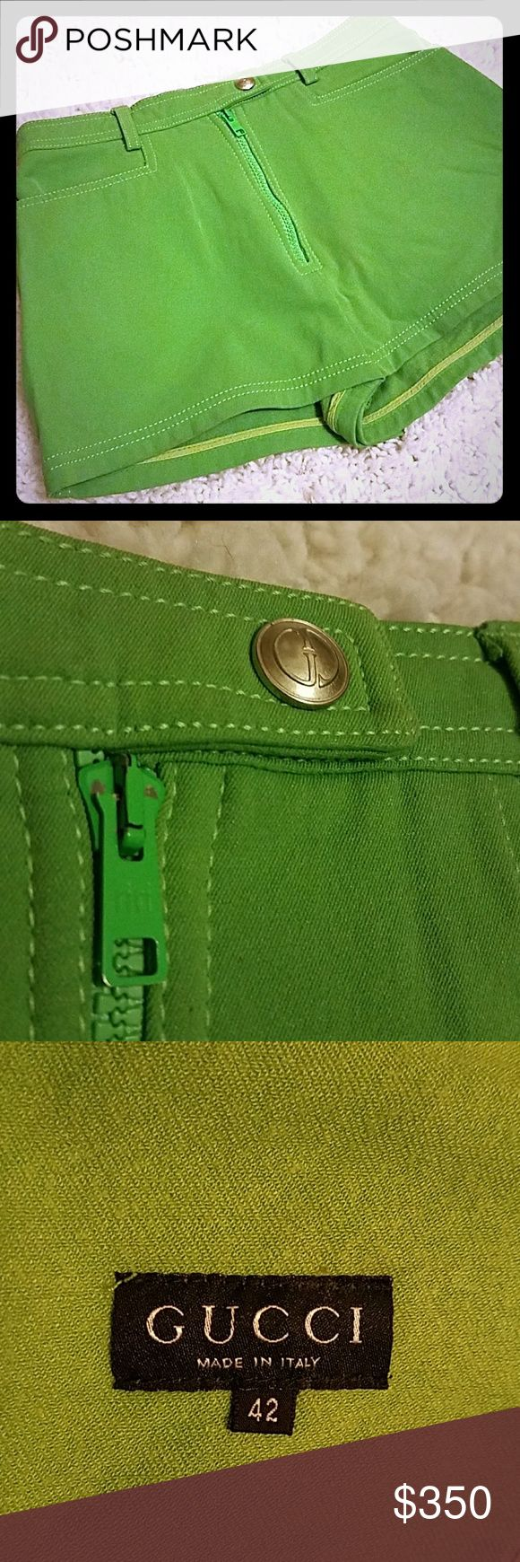 Rare vintage Gucci shorts Lime green, zipper/snap/button closure. Short with high waist. Stretch to material. Gucci Shorts