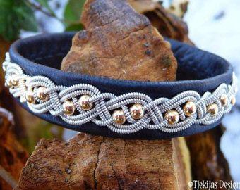 Sami Bracelet BIFROST Viking Black Reindeer Leather Cuff with 14K Gold Filled Beads, Pewter Braid and Antler Closure - Custom Handmade