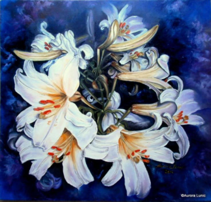 """Imperial Lily XV"" painting oil on canvas, 60cm/60cm, 2014, Artist Aurora Lunic"