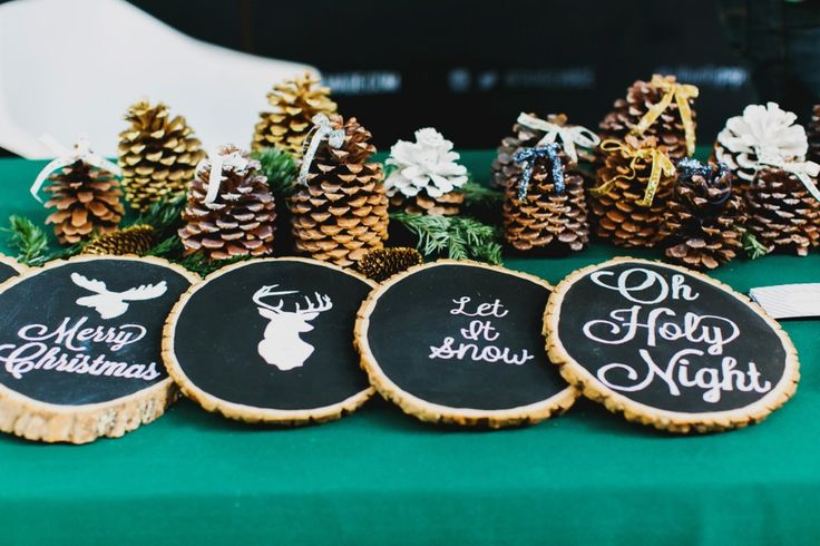 DIY Winter wall displays out of chalkboard tree trunks.