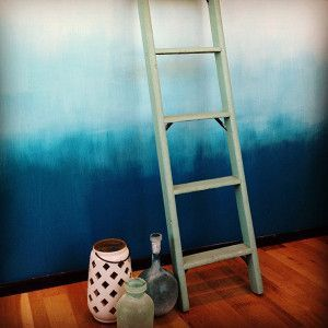 Ocean blue ombre wall design- might work well with the color of tumbleweed wall and we could fade into the light green at the top