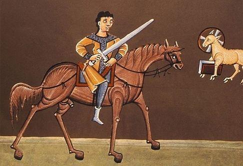 Scene 10B  van de Apocalyps, deel 1tapijt van Angers, ontbreekt  Openbaring 6: 3-4  Het tweede zegel, het rode paard  (verloren gegaan)  En toen Hij  het tweede zegel geopend had, hoorde ik het tweede dier zeggen: Kom en zie! En een ander paard kwam er aan, dat rood was; en die daarop zat, werd macht gegeven den vrede te nemen van de aarde; en dat zij elkander zouden doden; en hem werd een groot zwaard gegeven. Bamberger Apocalyps