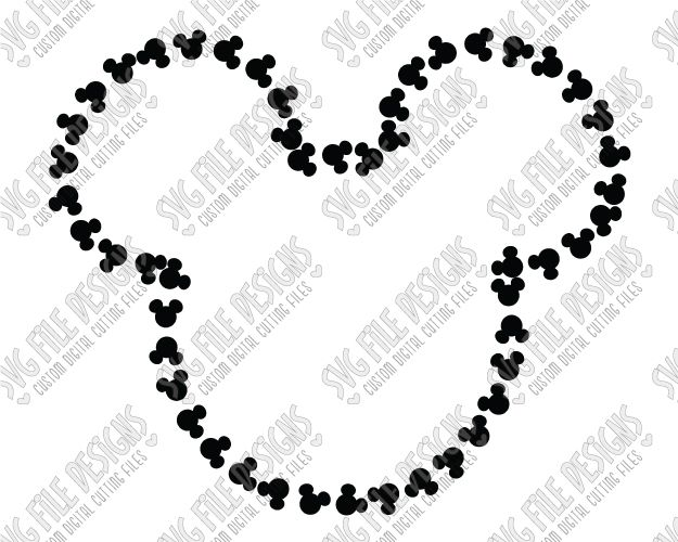 Mickey Mouse Head Outline Cut File Set in SVG, EPS, DXF, JPEG, and PNG