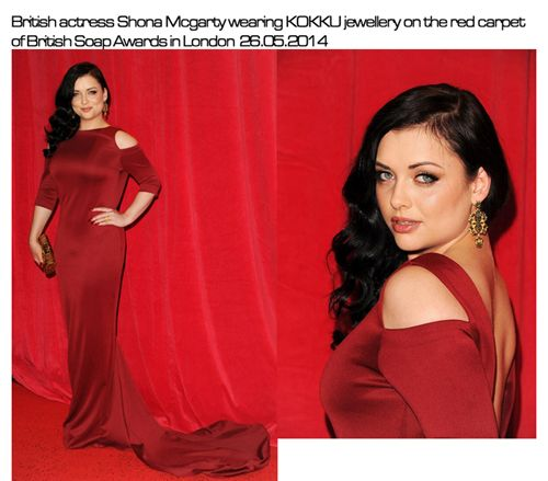 British actress Shona Mcgarty wearing KOKKU jewellery on the red carpet of British Soap Awards in London 26.05.2014  www.kokku.co.uk