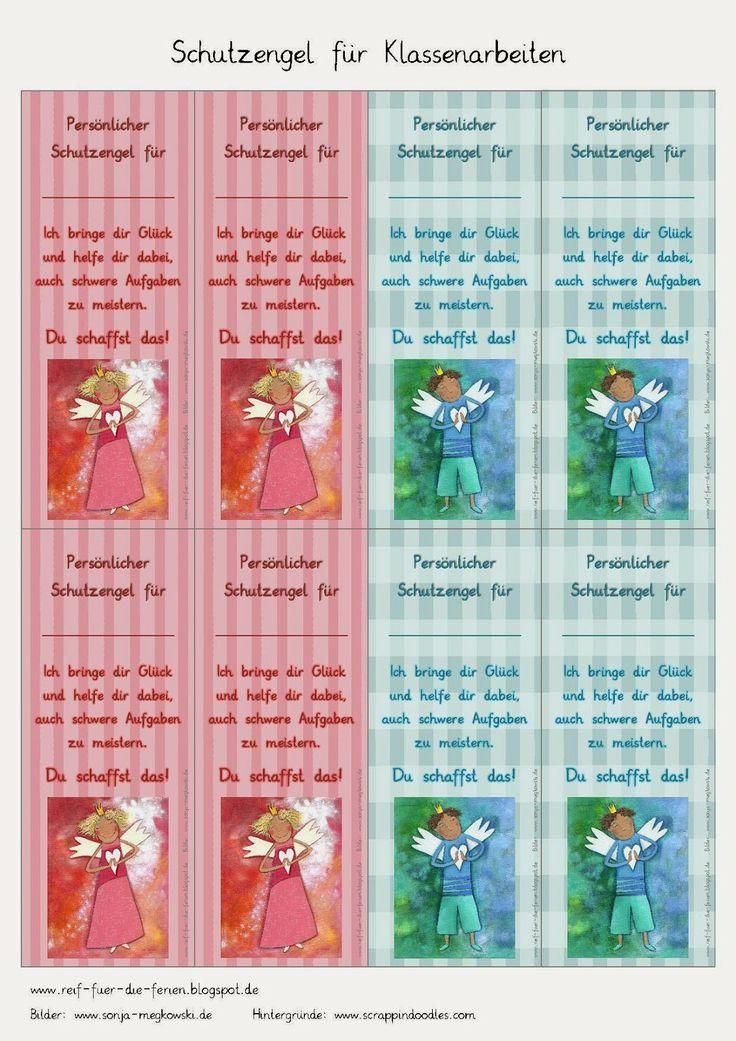 #Schutzengelkarten & #Glücksbringer für schwierige Aufgaben, für Klassenarbeiten, zur Einschulung, zum Schulanfang, zum Schulstart.