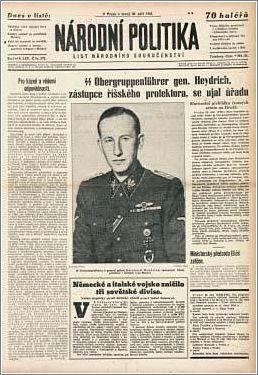 Czech news announcing the arrival of Heydrich as Deputy Reichsprotektor