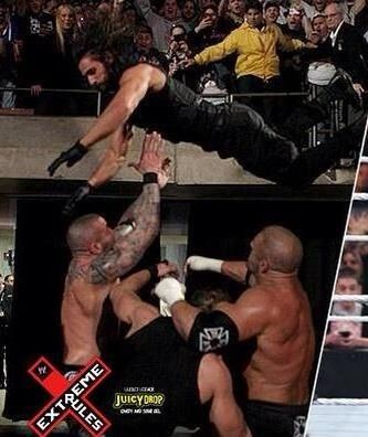 Ninja Rollins with that balcony dive! #WWE #ExtremeRules