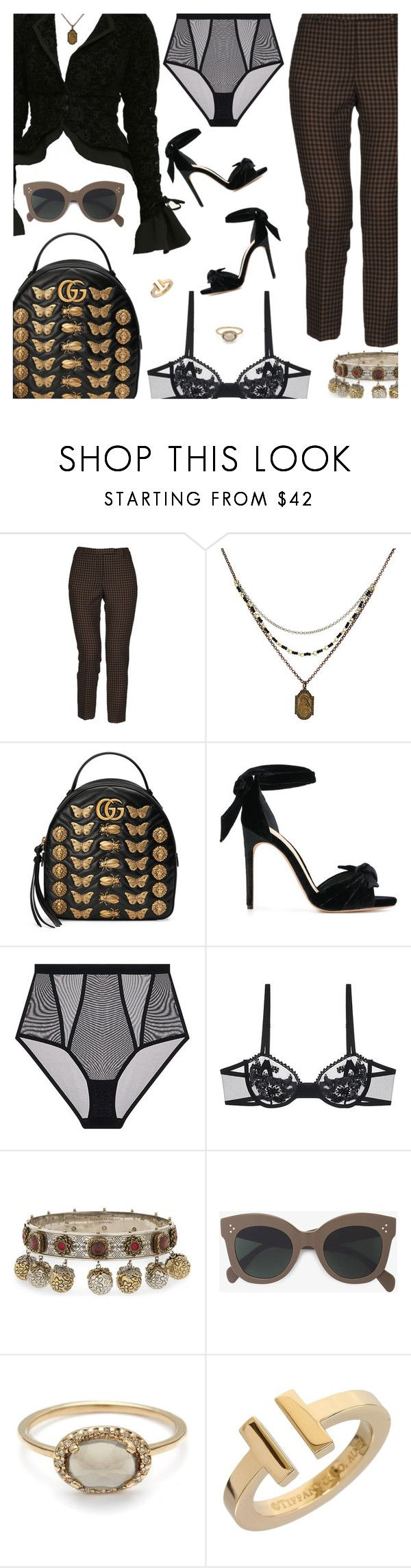 """""""Untitled #6366"""" by amberelb ❤ liked on Polyvore featuring QL2, 1928, Gucci, Alexandre Birman, Alexander McQueen, CÉLINE and Tiffany & Co."""