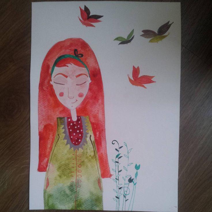 #redhair #girlillustration #butterfly #watercolor #handdrawn #martonszimona # greendress # bookillustration #childrenbookillustration #chill #peace