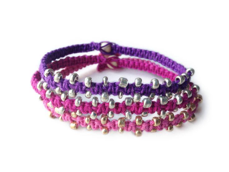DELISH: Purple, Dark Pink and Pink Hemp Cord with Tiny Seed Beads