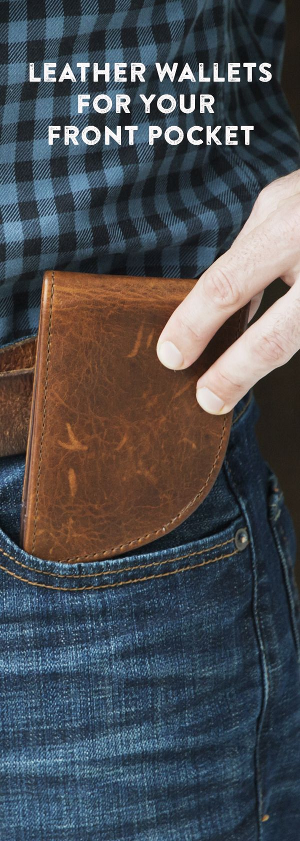 Front pocket wallets are safer—and can be less stressful on your back. These leather wallets are made in Maine and carefully designed to fit perfectly.