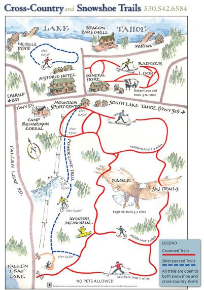 Camp Richardson Winter/Spring Recreation cross country/snowshoeing trail map!
