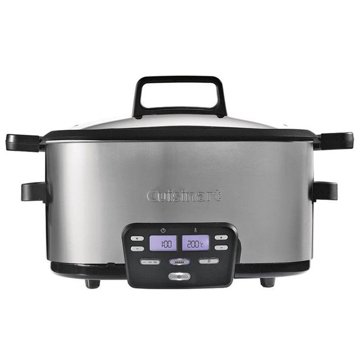 3 in 1: slowcooker, stomer, bak - en brader. Deze Cuisinart MSC600E Multi Slowcooker heeft maar liefst drie sudderinstellingen, kan bakken én braden. Handig om bijvoorbeeld saus gerechten te maken. Met tijdschakelaar en warmtebehoud functie.