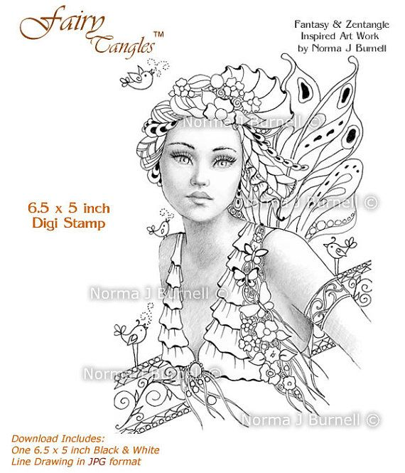 song of spring fairy tangles printable digi stamp fairy with flowers birds grayscale digital stamp by norma j burnell for coloing cards