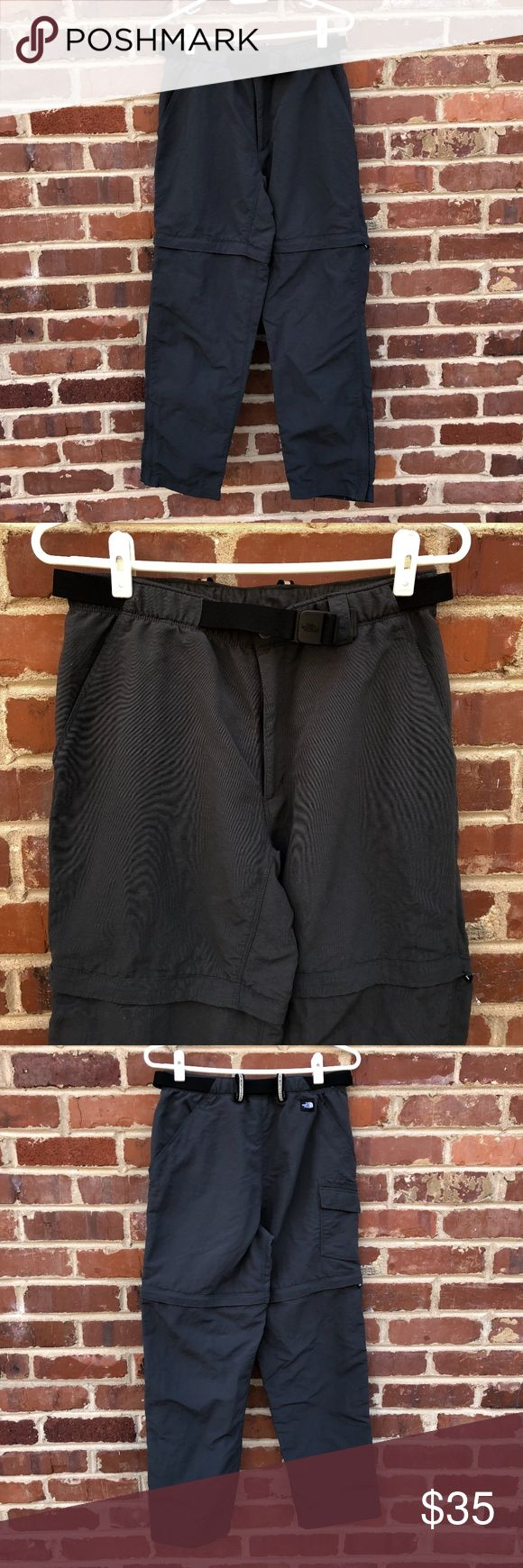 """North Face Convertible Hiking Pants Zip Off Shorts - 2 Front Zip Pockets   - 100% Nylon    - Webbed Belt   - Convertible   - Zippers at Bottom Hems   - 2 Back Pockets   - 2 Side Pockets  --Size Small --Excellent condition --approx 38"""" long; pants approx 28.5"""" inseam; shorts 7"""" inseam --Dark gray The North Face Pants Straight Leg"""