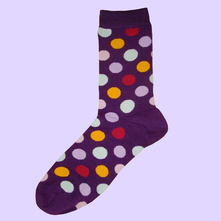 Bassin and Brown Sock Collection - Design: Spot Multi Coloured Socks Purple.Lilac.Yellow.Red and White.                  http://www.bassinandbrown.com/socks/spot-multi-coloured-sock.html