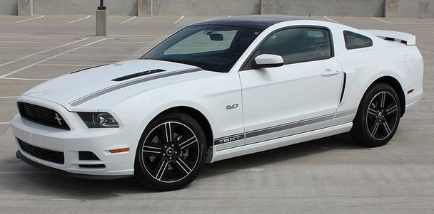 085043e55b side angle view California Mustang GT stripe graphics 2013-2014 CALI  EDITION Call Us 812-725-1410