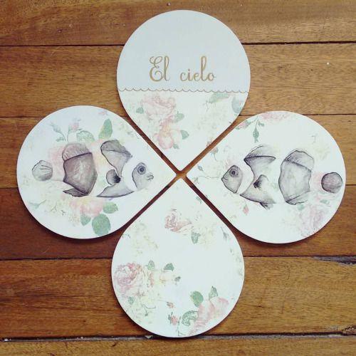 """"""" El cielo """" set de 4 posa vasos pieza única #Himallineishon #coasters #illustration #fish #homedecor #handpainted"""