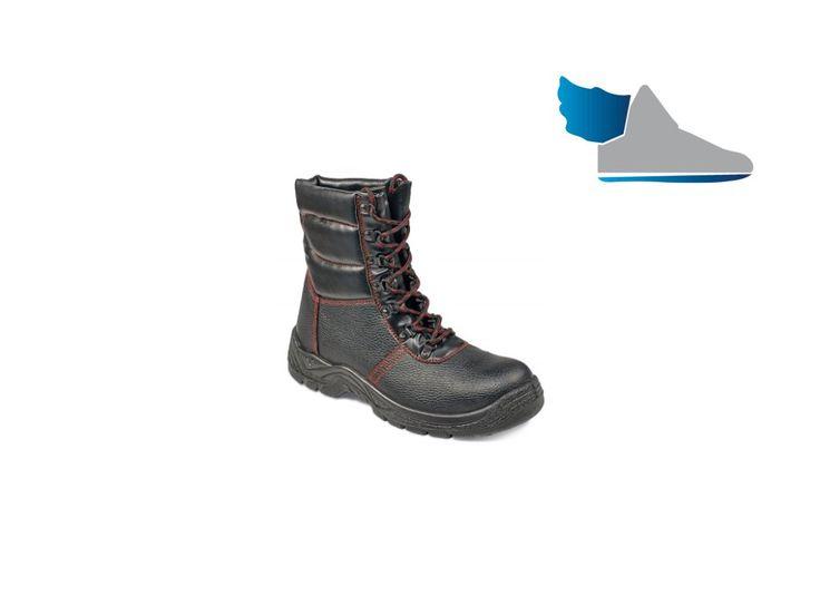Čierna, vysoká, zimná bezpečnostná obuv.