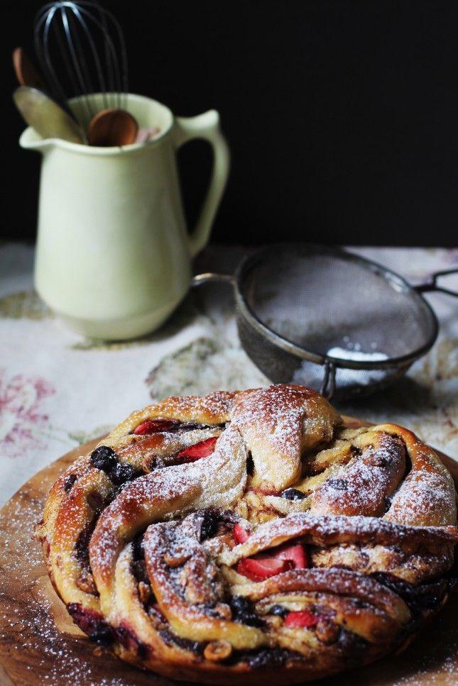 Sweet Berry, Hazelnut, and Dark Chocolate Brioche Swirl