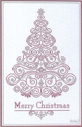 """Merry Christmas"" is the title of this cross stitch pattern from Alessandra Adelaide Needleworks that is stitched with Gentle Art Sampler thread (Cherry Wine) or color of your choice.  The pattern is also stitched on your fabric choice as well to creat this beautiful Christmas tree."