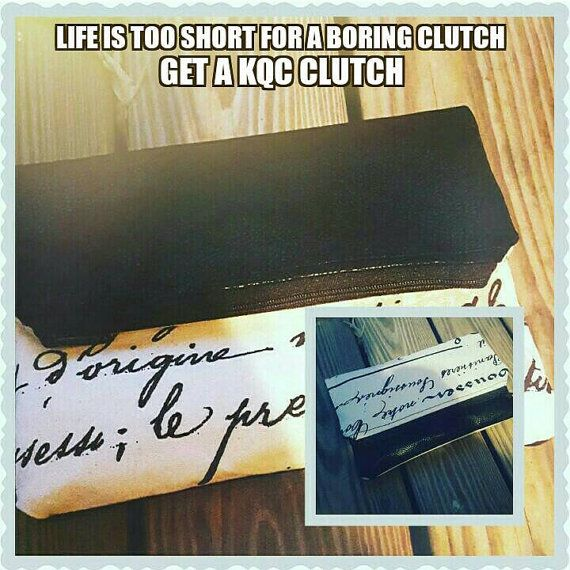 Black foldover clutch with writing great for day or night out. Fabulous  Hey, I found this really awesome Etsy listing at https://www.etsy.com/listing/243421711/handmade-black-and-cream-handwriting