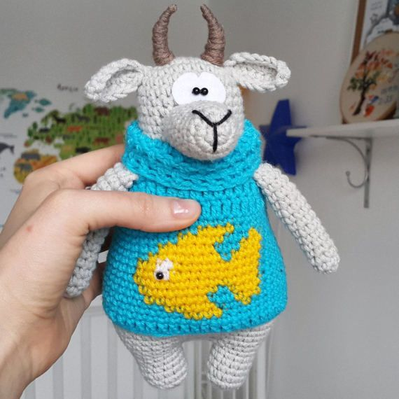 Goat stuffed toy doll  knitted goat crochet goat от PrettyBalls