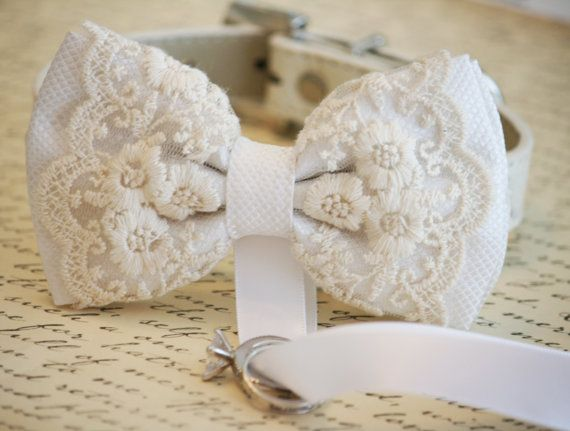 White Dog Bow Tie, Dog ring bearer, Pet Wedding accessory, Pet lovers, Chic and Classy, Lace bow on Etsy, $36.50