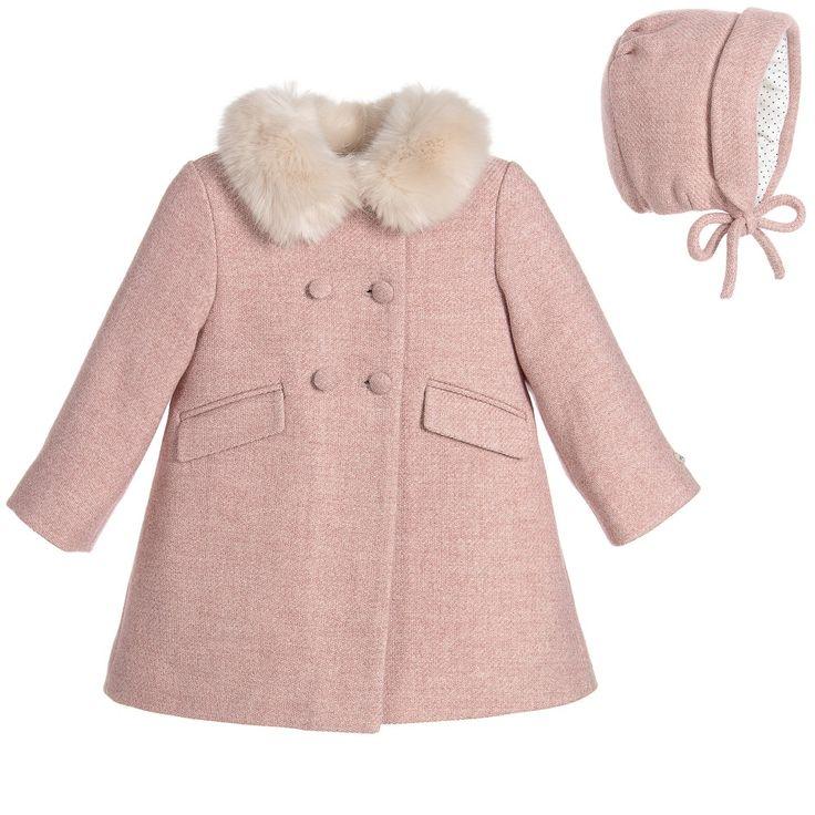 Nanos Baby Girls Pink Wool Coat & Hat Set at Childrensalon.com