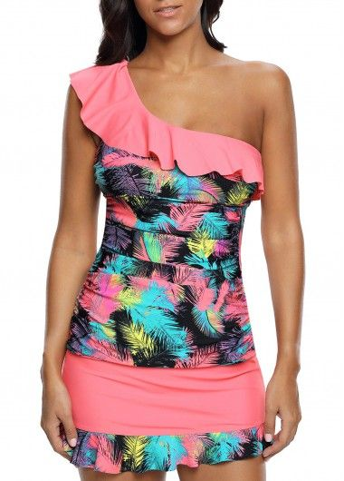 Flouncing One Shoulder Ruched Tankini Top and Pantskirt | Rosewe.com - USD $30.38