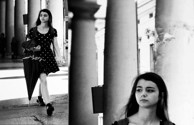 https://flic.kr/p/HBFBVh | Bella | Giulia Bergonzoni photography #street #photography #portrait #giulia #bergonzoni #artistic #beautiful #girl #umbrella #urban #style #black #white #shades #interesing #life