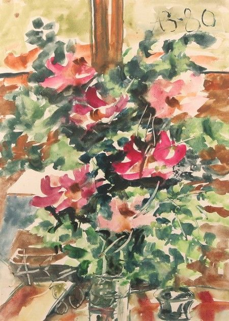 Анатолий Зверев (1931-1986 РОССИИ) Цветы, акварель 1980 33 1/4 х 24 дюймов (84,5 х 61 см). Подписанного нижнем левом и верхнем правом