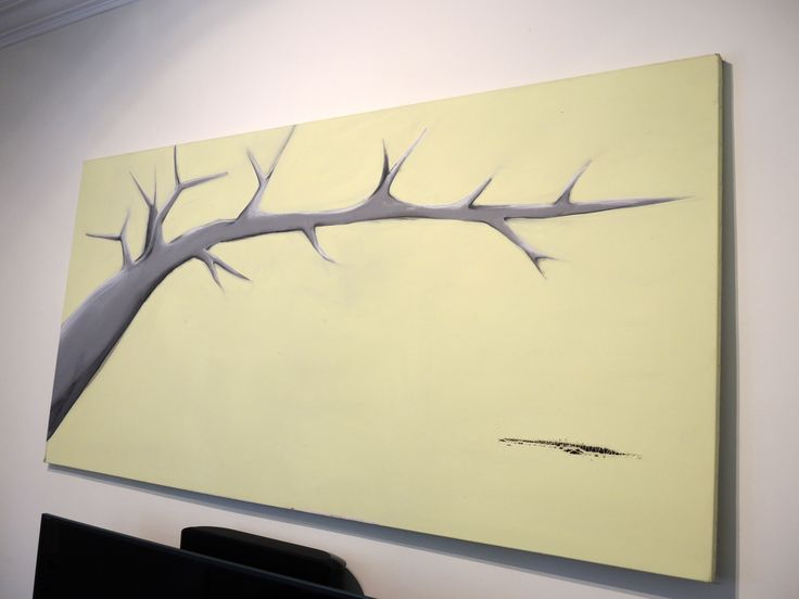 The dark tree - I had this huge canvas sitting around for ages... when i was moving houses I managed to tear it... One day I had this crazy idea to simply stich it and paint over! The stich became in a way part of the painting... - acrylic on canvas
