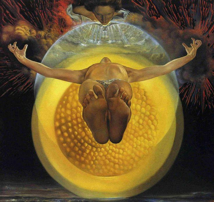 Dalì, Ascensione (1958). Una visione stupefacente tra citazioni del Mantegna, forse anche di Blake e della fisica particellare. Gala come sempre veglia sul dramma cosmico. —