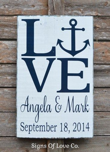 Love Beach Wedding Sign Personalized Gift Rustic Nautical Anchor Theme Signs…