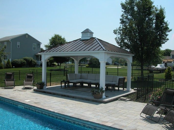 Vinyl Traditional Pavilion With Standing Seam Metal Roof