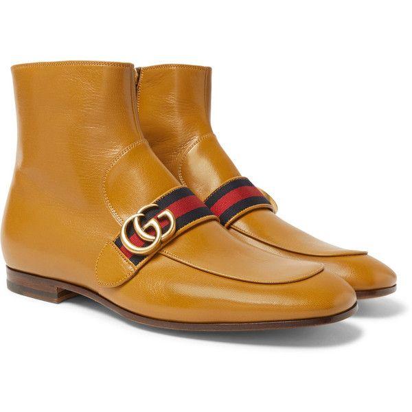 Mens Gucci Leather Double Zipper Shoe