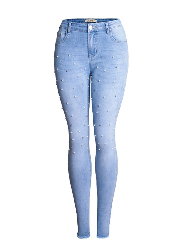 Blue Frayed Hem Beaded Skinny Jeans_Butt Lifting Skinny Jeans_Women Jeans_Sexy Lingeire | Cheap Plus Size Lingerie At Wholesale Price | Feelovely.com
