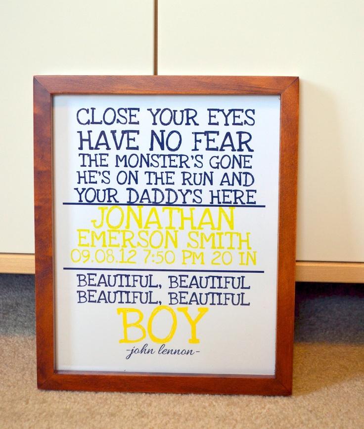 John Lennon 11 x 14 nursery print- Beatles nursery print- Beautiful boy lyrics- Personalized boy nursery print. $14.00, via Etsy.