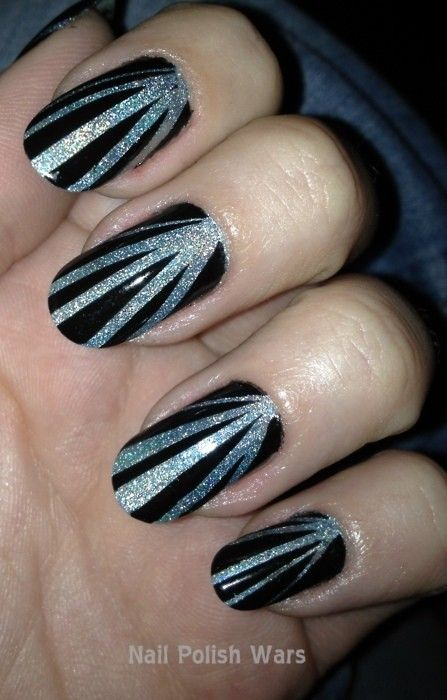 Art deco nails - silver and black