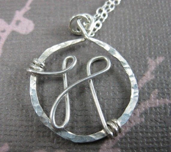Sterling silver, wire wrapped monogram necklace