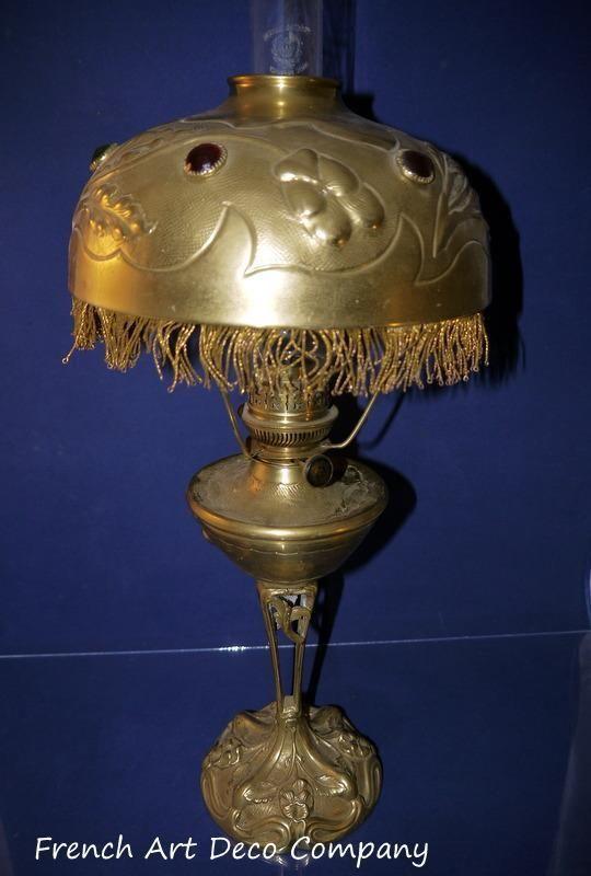 LELEU French Art Nouveau Bronze Table Lamp c1900's