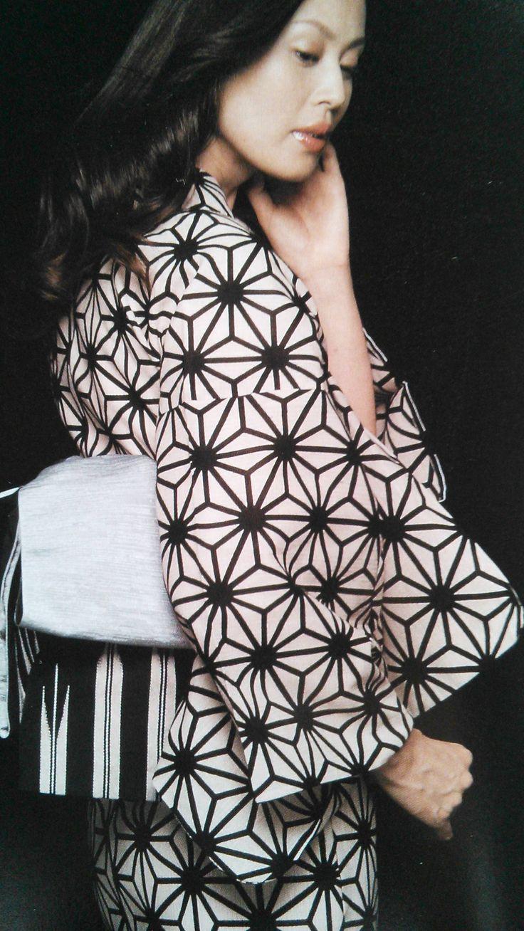 モノトーンの浴衣。Yukata in blackwhite