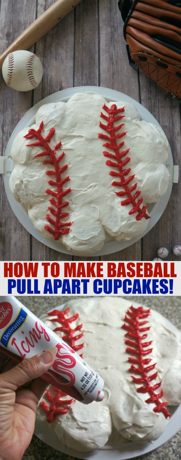 Baseball Cupcake Ideas- Make This Super Fun Pull Apart Cupcake Cake! This is such a fun idea for baseball birthday parties and team parties and events
