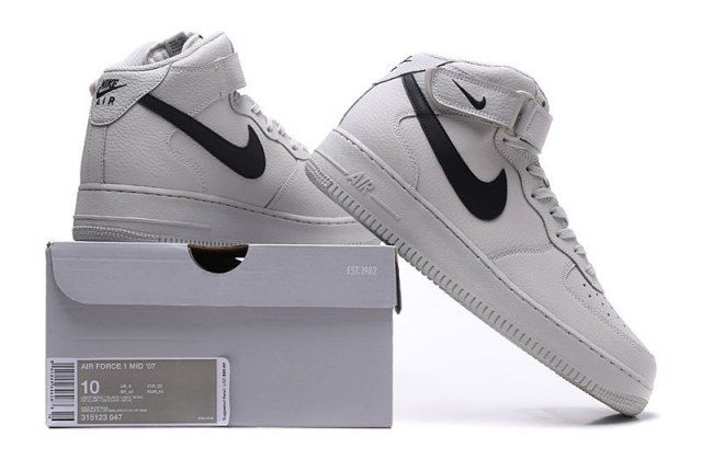 more photos 18961 fe9c0 Nike Air Force 1 Mid  07 High Unisex Sneakers Shoes Light Bone Black
