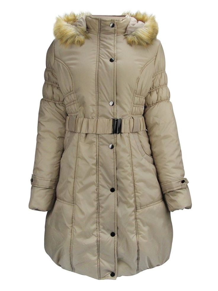 ZAIAI Women's Parkas Anoraks Long Coats With Removable Faux Fur Trim Hood