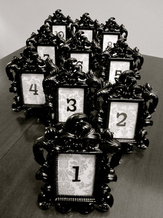 Black Baroque & Damask Table Numbers with Frame
